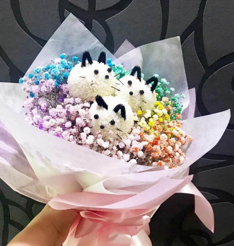 Cat Blooms with Rainbow Baby Breath Bouquet