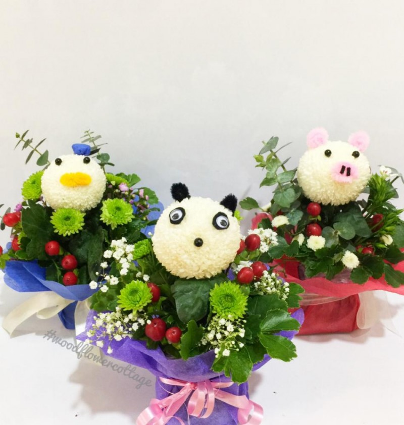 Animal Bloom Arrangements - Duck, Panda, Pig