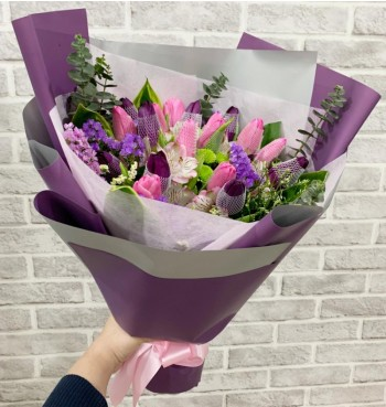 20 Pink and Purple Tulips Bouquet
