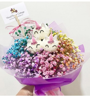 Unicorn Blooms with Rainbow Baby Breath Bouquet