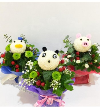 Animal Bloom Arrangements - Duck, Panda, Pig