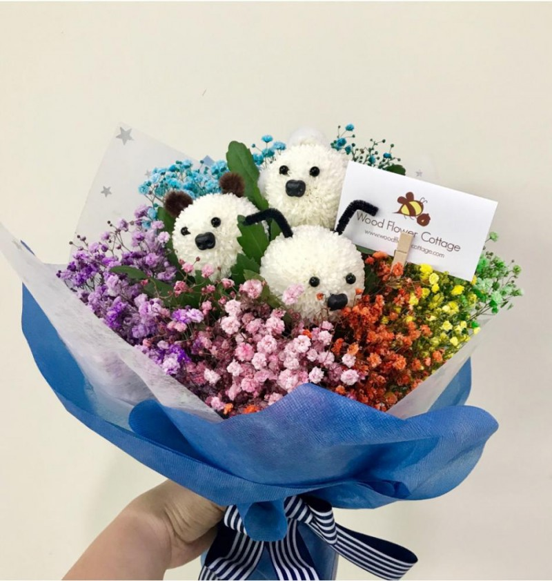 Rainbow Baby Breath with Doggy Blooms Bouquet